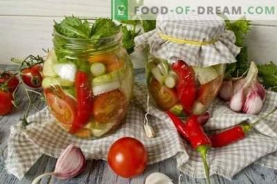 Solata iz kisle zelenjave s čilijem in meto za zimo
