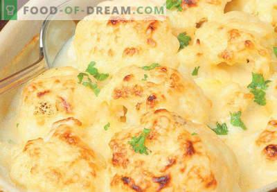 Lonec s cvetačo v pečici, recepti s sirom, jajcem, piščancem, mletim mesom, bučkami