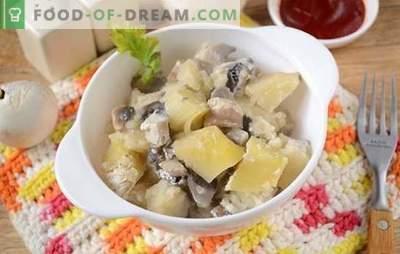 Krompir z gobami v pečici s kislo smetano - aromatična in hranljiva jed. Avtorjev fotografski recept za pečen krompir z gobami