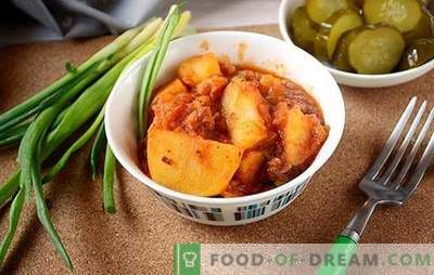 Potatoes with stew, green peas and tomato paste - diversify the daily menu. Photo-recipe for cooking unusual potatoes with stew in a tomato with green peas