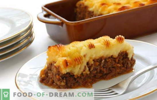 Krompirja z mesom v pečici - nahranite vse! Kuhanje okusnih in različnih krompirjevih jeder z mesom v pečici