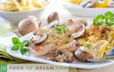 Svinjina s krompirjem in gobami: ocvrta, pečena, dušena. Zanimive različice kuhanja krompirja s svinjino in gobami