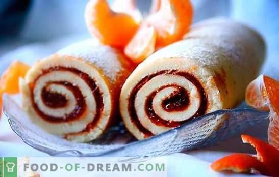 Roll with jam - preprosto, lepo, lepo! Recepti piškotov, peska, kvasovk z marmelado