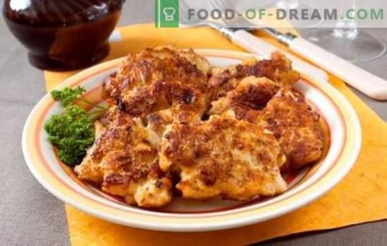 Sesekljane piščančje rezine z majonezo v paniranju in brez. Recepti ocvrtega in dušenega piščančjega krompirja z majonezo