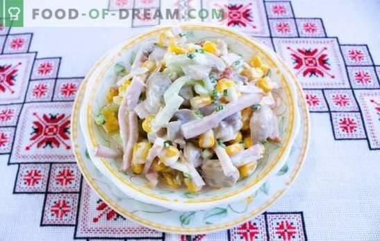 Solata s šampinjoni in šunko - klasične praznične mize. Recepti za šampinjone in salate s šunko: lahka in hranljiva