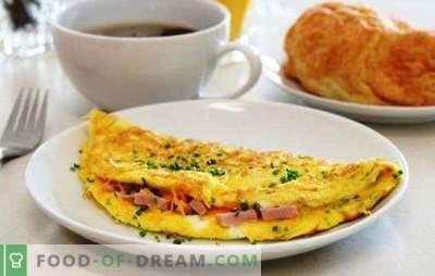 Omletas su dešra į keptuvę - paprastas pusryčiai. Omleto receptai keptuvėje su dešra ir sūriu, pomidorais, šonine, daržovėmis