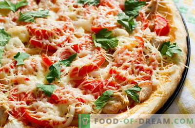 Pizza au poulet - les meilleures recettes. Comment cuire correctement et savourer une pizza au poulet.