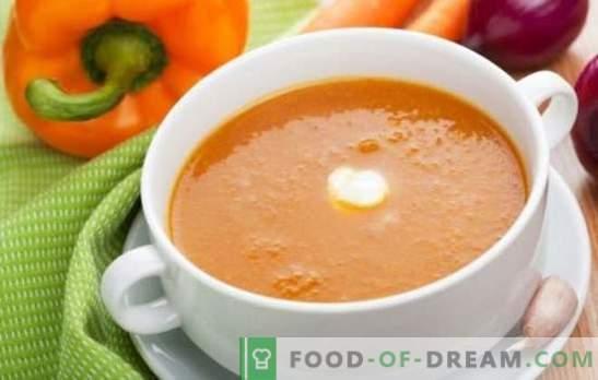 Zelenjavna kremna juha - nežna prva. Kuhanje okusnih zelenjavnih juh: paradižnik, bučke, buče, brokoli, špinača, poper