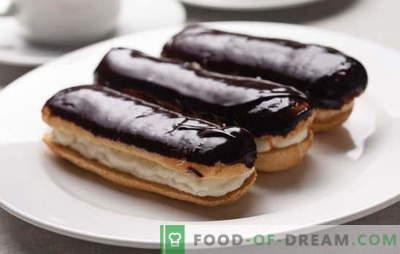 Eclairs en casa: recetas para pasteles maravillosos. Cocinando eclairs caseros con diferentes rellenos y masa