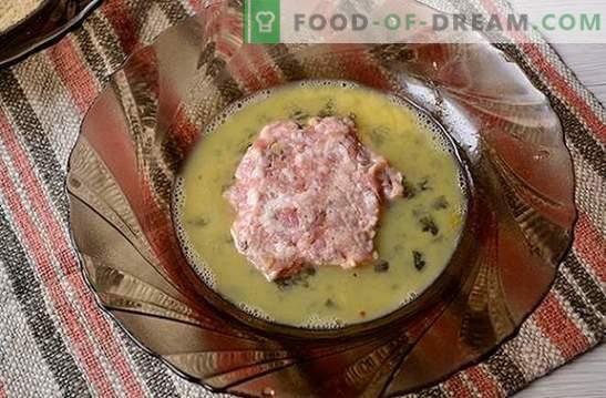 Odrezki za mleto meso: nežno, sočno, z hrustljavo skorjo. Avtorjev fotografski recept za mleto meso, pečen v ponvi v krušnih drobtinah