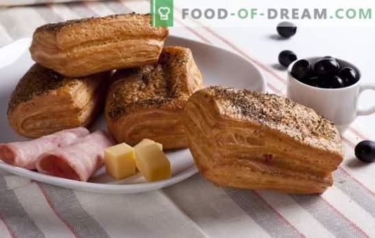 Duhovi s šunko in sirom - ne more dobro okusiti! Najboljši recepti za pršut in sir: polži, bageli, ovojnice