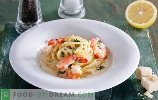 Špageti s kozicami v kremni omaki - stres okusa! Spageti recepti s kozicami v smetanovi omaki s sirom, češnjo, brokoli, vinom
