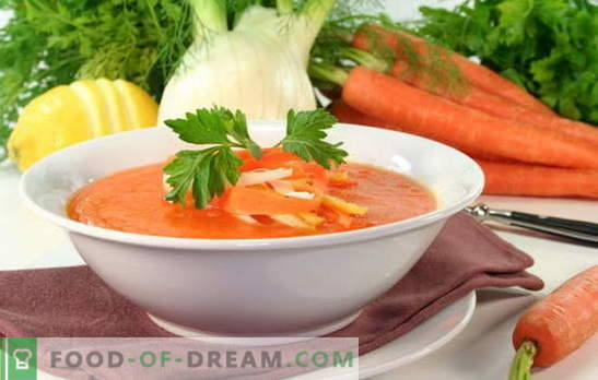 Juha iz korenja je sončna jed na vaši mizi. Kako kuhati okusno juho iz korenja: recepti za sladke ali slane jedi