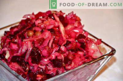 Vinaigrette with sauerkraut, recipes with peas, beans, cucumber