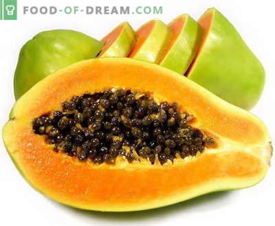 Papaya - opis, uporabne lastnosti, uporaba pri kuhanju. Recepti s papajo.