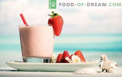 Občutite pozitivno dan - milkshake z jagodami! Milkshake recepti z jagodami in čokolado, bananami, malinami