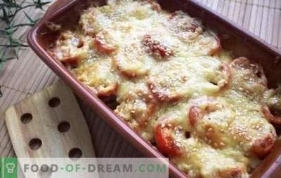 Paradižnik s sirom v pečici - pikanten! Variante pečenih paradižnikov v siru v pečici z mletim mesom, gobami, šunko in jajci