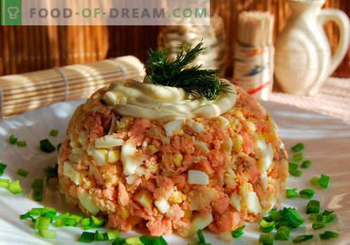 Grbasta solata - dokazani recepti. Kako kuhati solato iz roza lososa.
