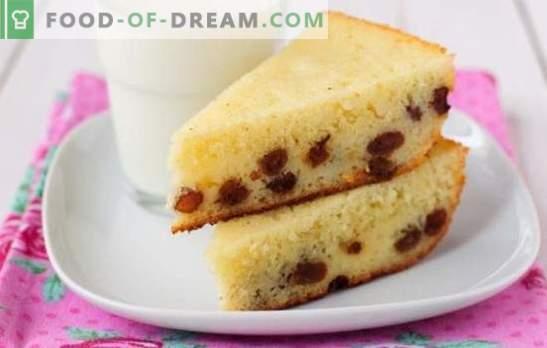Mannik z rozinami - peko namesto kašo! Najboljši recepti za klasične in nenavadne mannike z rozinami na jogurt, mleko, kislo smetano