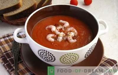 Paradižnikova juha s kozicami - aromatična poslastica. Najboljši recepti za paradižnikovo juho s kozicami in drugimi morskimi sadeži