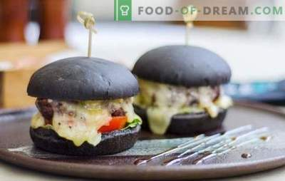 Črni buns - pravi trend te sezone! Recepti črnih štruk za burgerje za mleko, vodo, kefir s kvasom in riperji