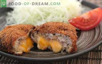 Mleto meso in zrezki iz sira so nežen dodatek k prilogo kremastega okusa. Mleto meso s sirom v notranjosti