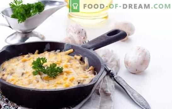 Julienne z gobami in krompirjem je okusna jed, ki temelji na preprostih receptih. Kuhanje okusne julienne z gobami in krompirjem