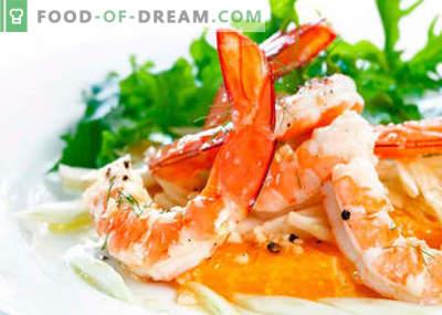 Solata s škampi in sirom - najboljši recepti. Kako pravilno in okusno pripraviti solato s kozicami in sirom.