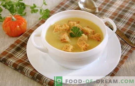 Kremna juha s kockami - univerzalna ideja za kosilo! Pire krompir s kockami in zelenjavo, gobami, piščancem