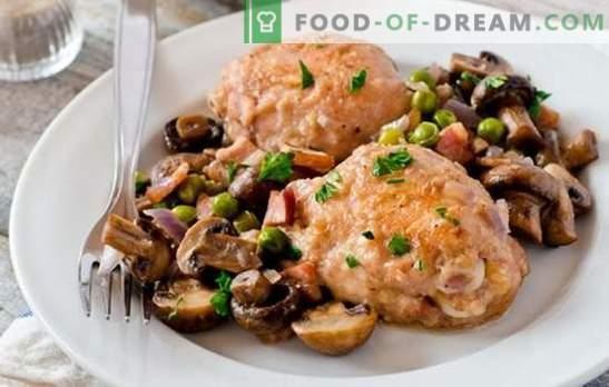 Piščanec z gobami je najboljši način za kuhanje mesa za prilogo. Kako kuhati piščanca z gobami (recept korak za korakom)