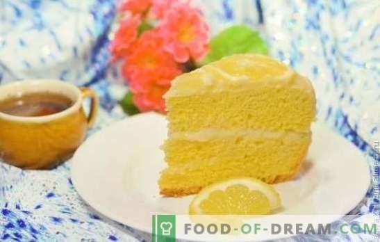 Lemon cake: piškot, puff, soufflé, pesek, žele, meringue, sladoledna torta. Recepti za avtorske pravice za limonin pecivo in glazuro