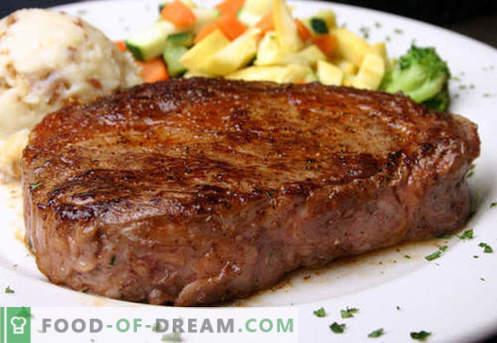 Biftek - najboljši recepti. Kako pravilno in okusno kuhati zrezek govejega mesa, sesekljane in mleto.