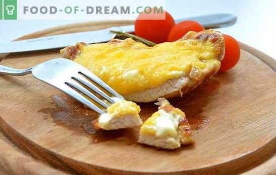 Najpreprostejši kompleks: recepti za meso, pečeno s sirom. Svinjina, piščanec, telečje meso, pečeno s sirom različnih sort - okusno!