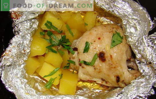 Chicken with potatoes in the oven in foil - new recipes. How to cook chicken with potatoes in the oven in foil