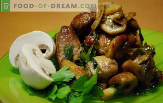 Meso s šampinjoni - aroma in okus. Recepti za meso s šampinjoni: dušeni, ocvrti, v pečici, v ponvi, v počasnem štedilniku