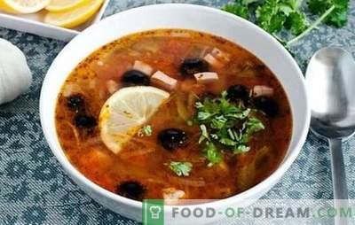 Solyanka classic s klobaso - to je juha! Recepti za pikanten, bogat, aromatičen klasičen solni kis s klobaso