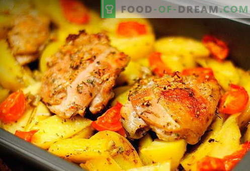 Piščanec s krompirjem v pečici - najboljši recepti. Kako pravilno in okusno kuhati v pečici piščanca s krompirjem v pečici.