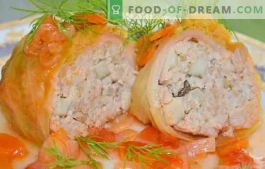 Postopni recepti za klasične in lene zelja z mletim mesom. Polnjeni zelja z mletim mesom v ponvi, pečici, počasnem štedilniku (korak za korakom)