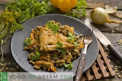 Linsen mit Hühnchen und Gemüse