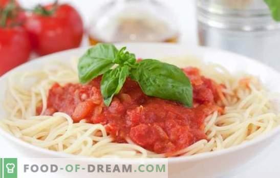 Špageti paradižnikova omaka je najboljši način za diverzifikacijo preproste jedi. Izbor najboljših receptov za paradižnikovo špageti omako