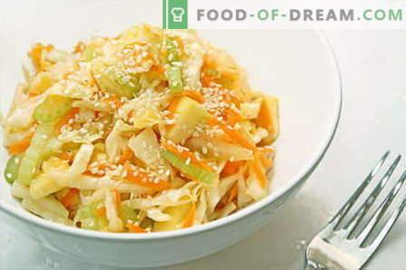 Zeljena solata - najboljši recepti. Kuhanje solat iz sveže, cvetače, morja in kitajskega zelja.