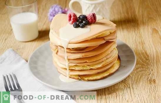 Panqueques con leche: ¡versión americana seca de las frituras habituales! Receta fotográfica paso a paso del autor de panqueques con leche - delicioso y delicioso