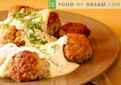 Omaka za testenine, riž, pire krompir, mesne kroglice - najboljši recepti. Pravilno kuhanje mesa, paradižnika, gob, piščančje omake.