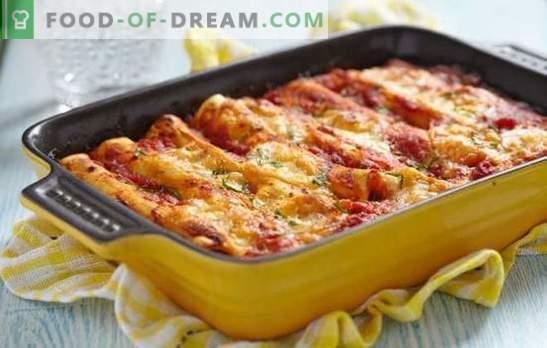 Cannelloni z mletim mesom - Italija na krožniku! Kuhanje kanelonov z mletim mesom in sirom, gobami, paradižnikom, špinačo omako