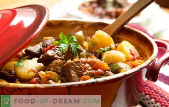 Recept za pečenko in krompir za prave sladokusce! Pečeno meso in krompir: v lončkih, v ponvi, v počasnem štedilniku