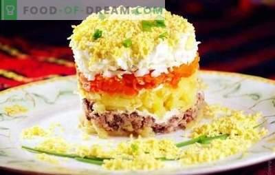 Salata iz mimoze v pločevinkah: recept po korakih. Možnosti kuhanja solate