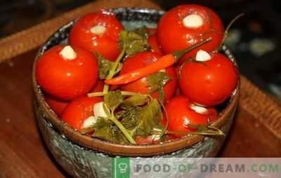 Marineeritud tomatid küüslauguga - lemmik suupiste! Retseptid marineeritud tomatid küüslauguga: meeldejääv maitse