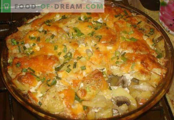 Svinjina v francoski pečici, v foliji, z gobami, krompirjem