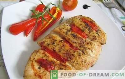 Piščančja prsi s paradižnikom: 10 najboljših avtorskih receptov. Fry, kuhamo, pečemo piščančje meso z paradižnikom