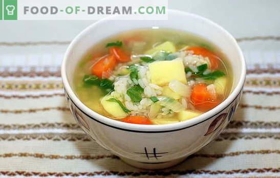 Juha z rižem in krompirjem: hitra, okusna in zdrava. Kuhanje juhe z rižem in krompirjem je preprost in hiter postopek
